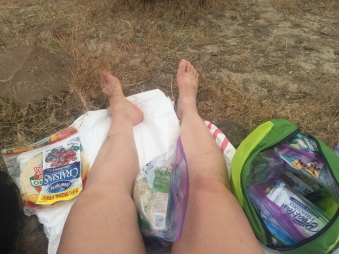 airing out my feet during lunch